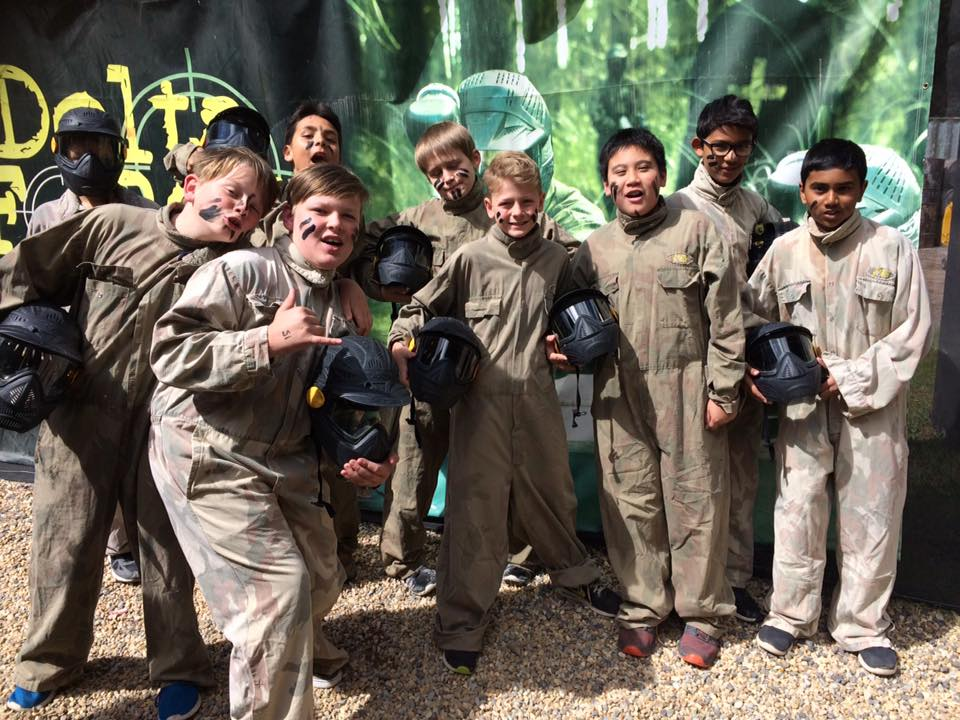 Smiles all round for these young paintballers